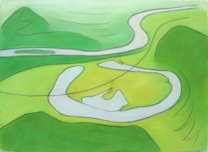 Oxbow triptych  right panel departure 1990