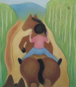 Sarah Six III riding Misty Latigo Ranch CO lg